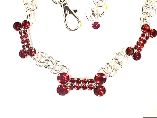 Red Rhinestone Bones Dog Necklace Collar