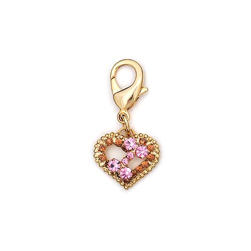 GOLD PINK RHINESTONE HEART BONE CHARM