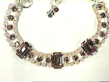Pink and Brown Rhinestone Necklace