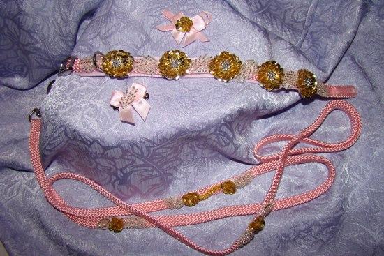 Gold Sequin Flower Beaded Leaves Collar Set