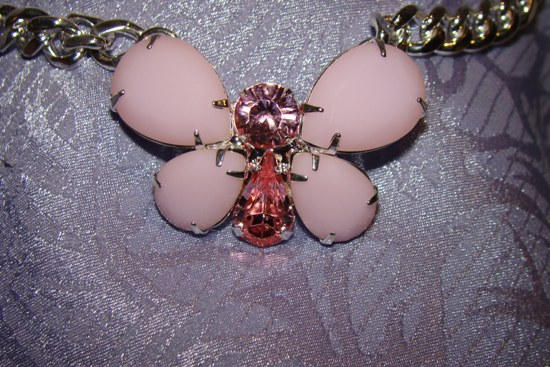 Pink Rhinestone Butterfly Dog Collar Jewelry Necklace