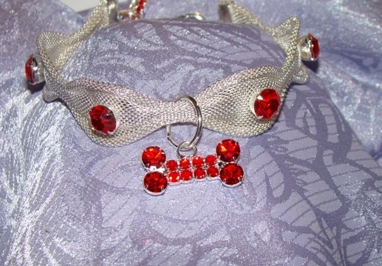 Silver Mesh Red Rhinestone Necklace Pet Jewelry