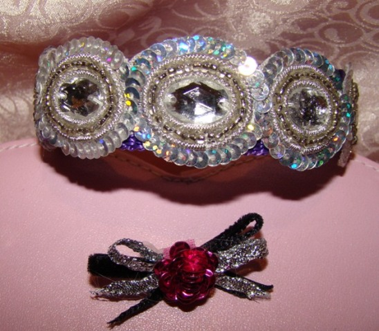 Silver Rhinestones and Sequins Collar