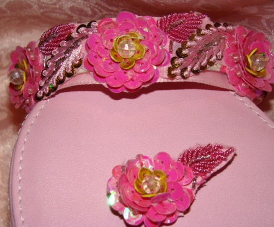 Pink Sequin Flowers Beaded Collar
