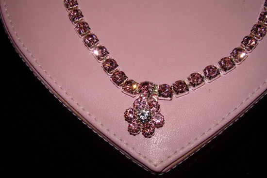 Pink Rhinestone Flower Charm Dog or Cat collar Necklace