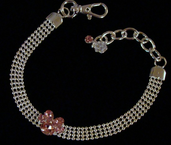 Silver Beads Pink Rhinestone Paw Necklace Collar