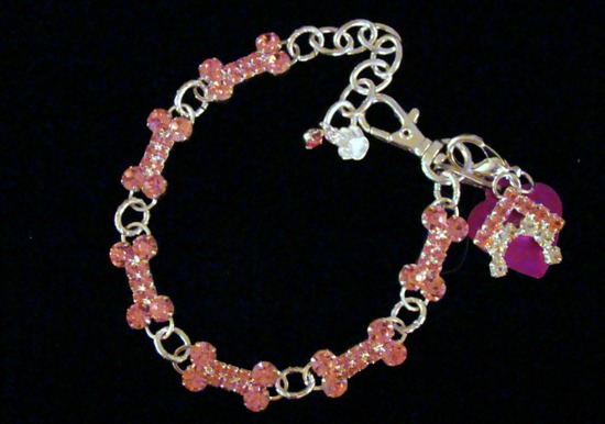Pink Rhinestone Bones Dog collar necklace jewelry