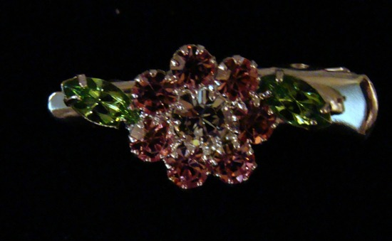 Pink Green Flower Rhinestone Dog hair clip
