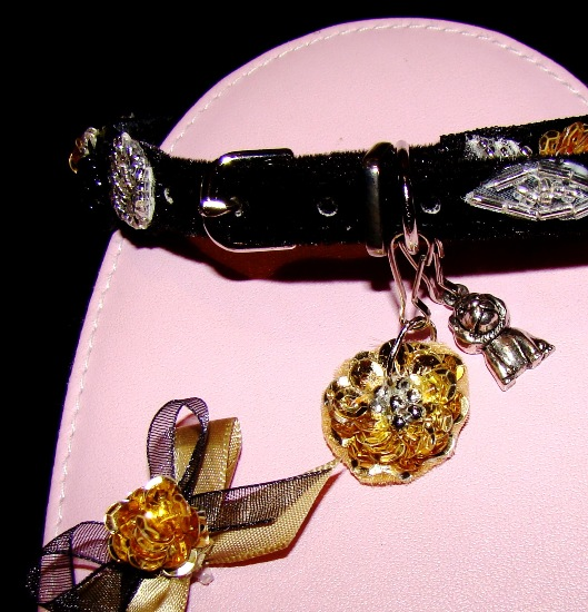 Gold Sequin collar charm