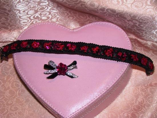 Magenta Sequins Braided on Black Collar