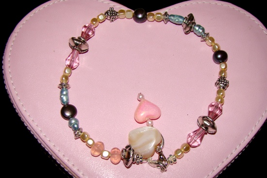 Pink Austrian crystals,pearl pet necklace collar