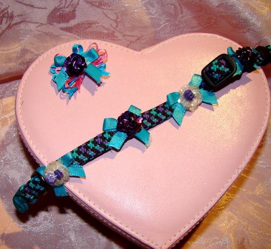 Purple & Blue SEQUIN Flower collar