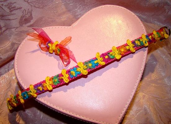 Multi Chenille Floral Ribbon Collar