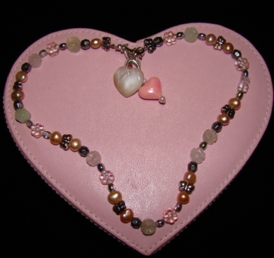 Pastel Crystal Beads,Pearls,Butterflies necklace