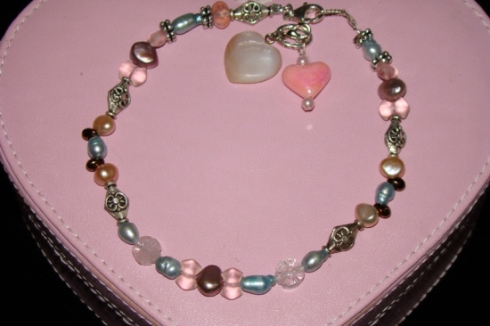 Fresh Water Pearls Silver Pink Beads Crystal Dog Cat Jewelry Collar