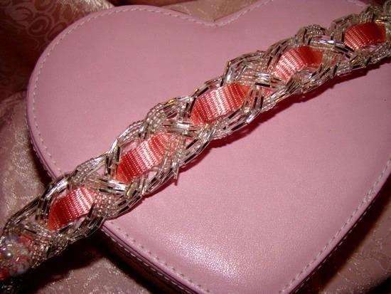 Braided Bugle Bead on Pink Collar