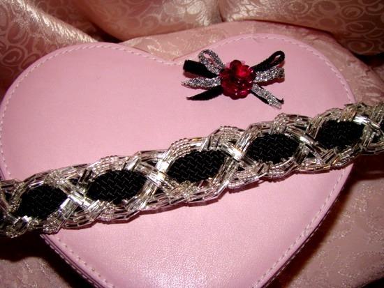 Braided Bugle Bead on Black Collar