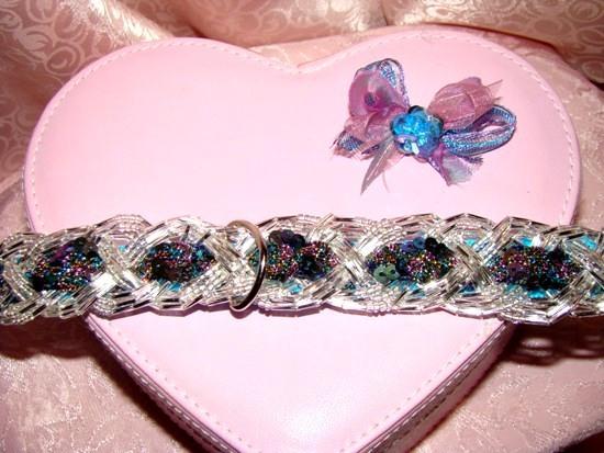 Braided Bugle Bead Sequined Ribbon Collar COLLAR
