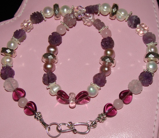 Lavender ,Pink Beads, White Pearl Necklace