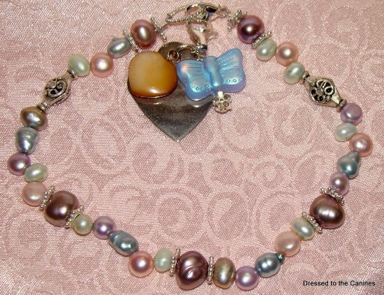 Pastel Pearls Sterling Silver Accents Collar Necklace