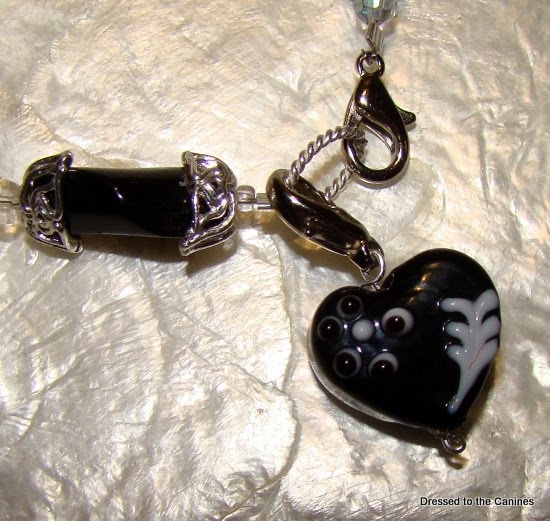 Black Glass Heart Collar Charm