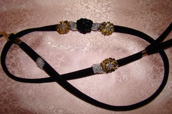 Black Gold Silver Sequin Flower Leash
