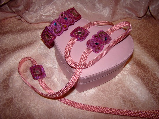 DEEP PINK BEADED BEAUTY COLLAR LEASH SET
