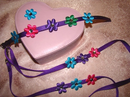 PURPLE DAISY MATCHING COLLAR LEASH SET