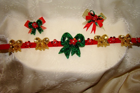 Holiday Sequin Bow Collar