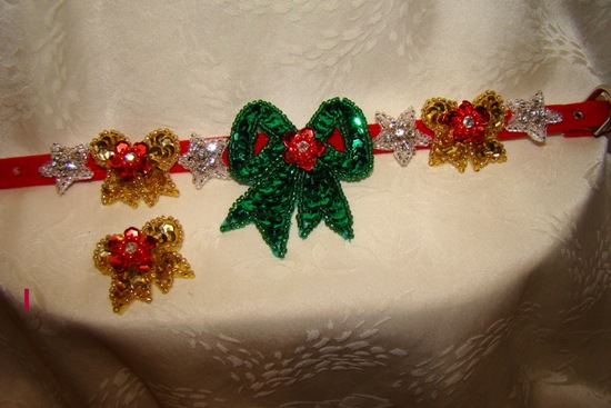Holiday Sequin Bows and  Rhinestone Stars Red Velvet Collars