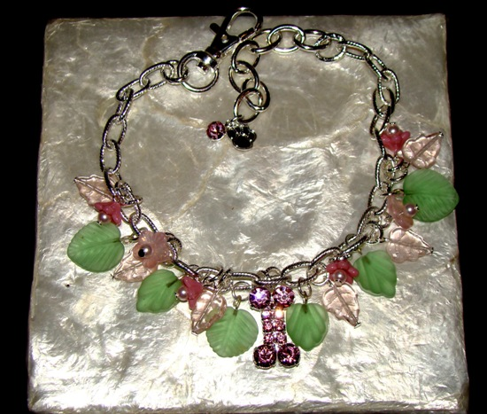 Pink Green Multi Charms Rhinestone Pet Necklace Jewelry