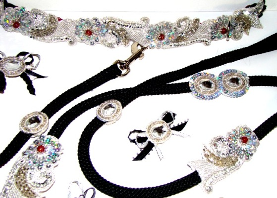 SHIMMERING SILVER MATCHING COLLAR LEASH SET