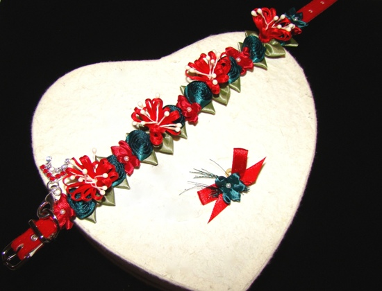 Satin Holiday Flower Pet Collar