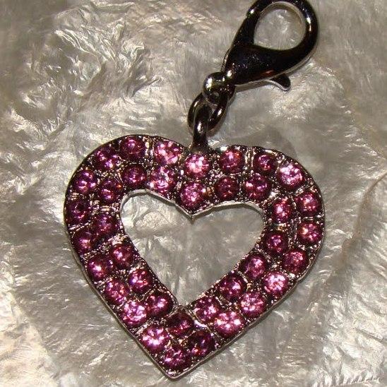 Pink Rhinestone Heart Collar Charm