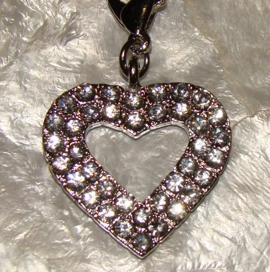 Clear Rhinestone Heart Collar Charm