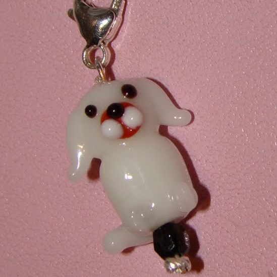 White Dog Collar Charm