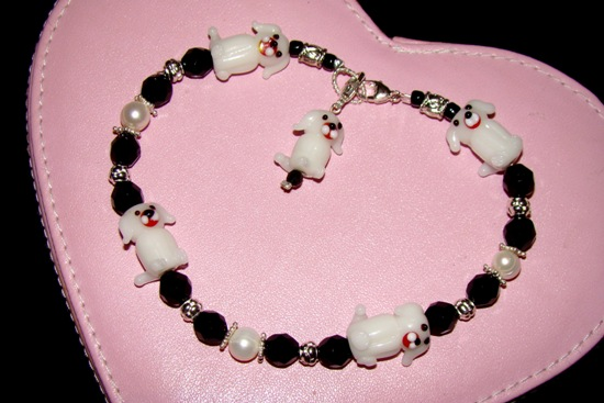 Dog Beads,Pearls,Jet Crystals,Silver Accents Necklace Collar