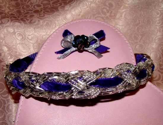 Braided  Bugle Bead Velvet Ribbon Collar