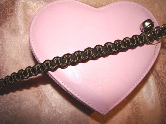 Black Gold Ribbon Leather Collar