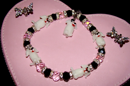 Pink Black Beads Rhinestone Doggy Necklace Collar