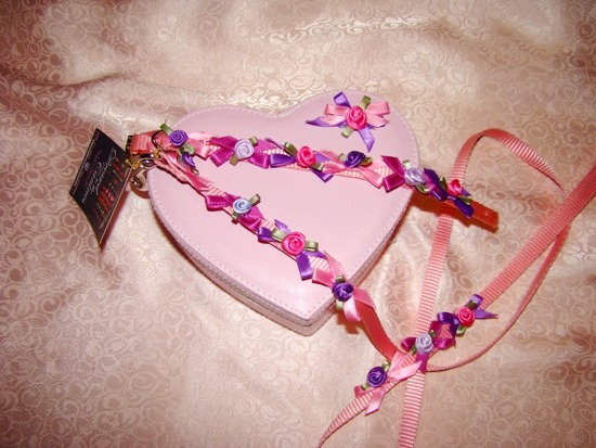 SATIN BOWS AND ROSES COLLAR LEASH SET