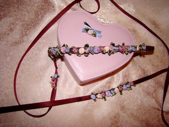 Burgundy Floral Collar Leash Set