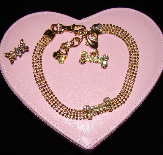 Gold Beads Rhinestone Bone Pet Jewelry Collar