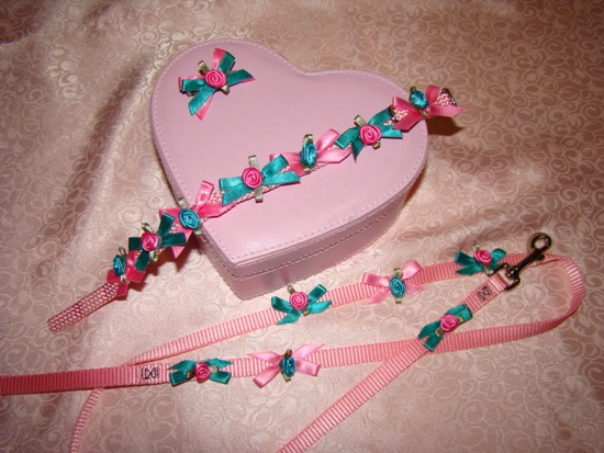 PINK & TEAL BLUE FLOWERS & BOWS COLLAR SET