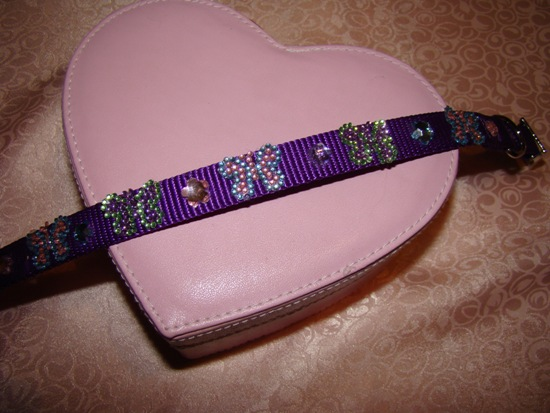 Purple Rhinestone Butterfly Collar