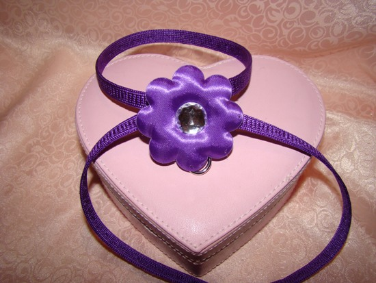 PURPLE SATIN FLOWER RHINESTONE HARNESS
