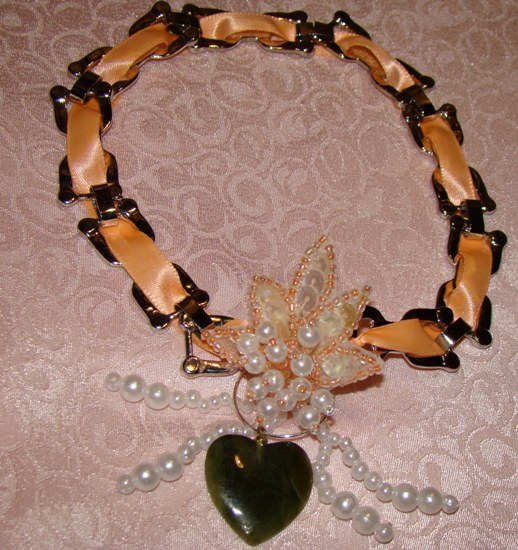 Peach Ribbon Chain,Jade Heart Necklace Pet Collar