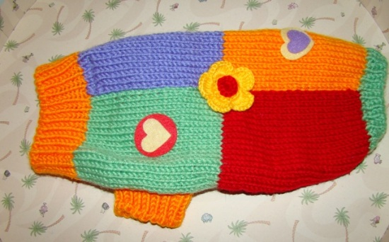 COLOR BLOCK DOG SWEATER