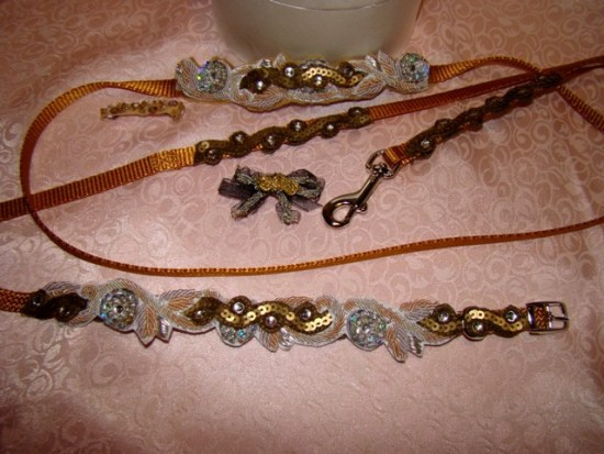 Bronze and Silver Glisten Gold Collar Leash Set