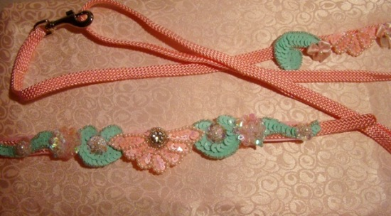 SEAFOAM GREEN & PINK SEQUIN COLLAR  LEASH SET